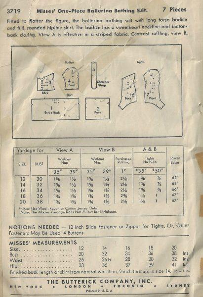 1941 WW11 Vintage Sewing Pattern B32 BALLERINA BATHING SUIT (1817 ...