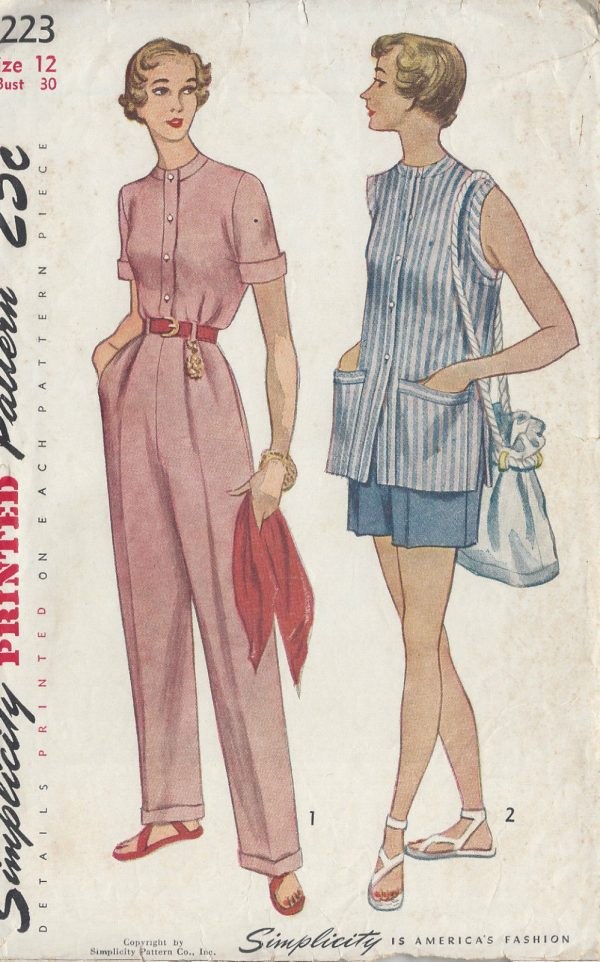 1950-Vintage-Sewing-Pattern-B30-W25-SLACKS-SHORTS-SHIRT-R650-251175185445
