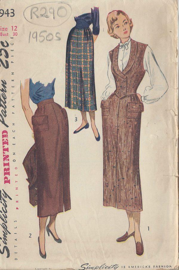 1950s-Vintage-Sewing-Pattern-B30-W25-SKIRT-WESKIT-R290-251162237645