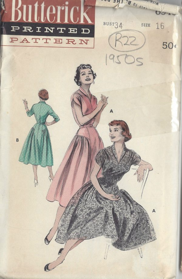 1950s-Vintage-Sewing-Pattern-B34-DRESS-R22-251172246305