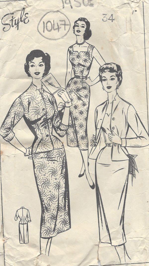1950s Vintage Sewing Pattern B34 WIGGLE DRESS & JACKET (1047) - The ...
