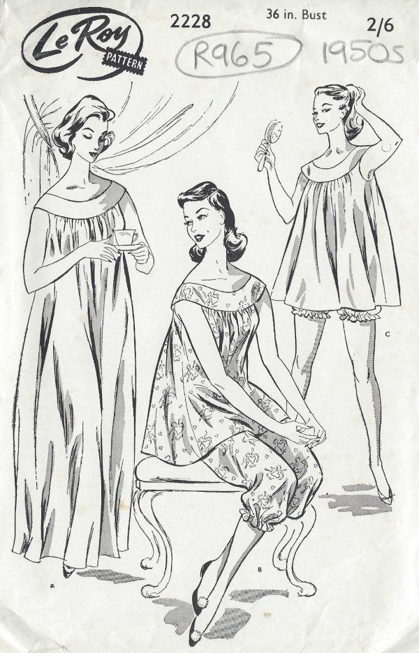 1950s-Vintage-Sewing-Pattern-PYJAMAS-NIGHTDRESS-B36-W30-R965-251269978395