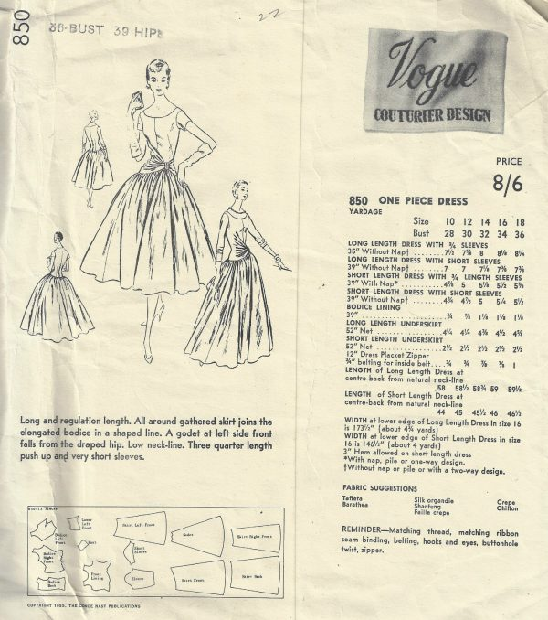 1955 Vintage VOGUE Sewing Pattern B36 ONE-PIECE DRESS 1822