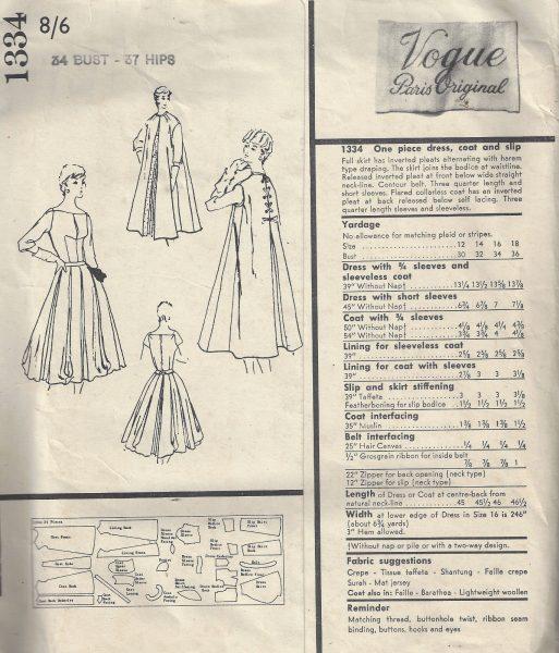 1956 Vintage VOGUE Sewing Pattern B34 DRESS COAT & SLIP (1773R) By ...
