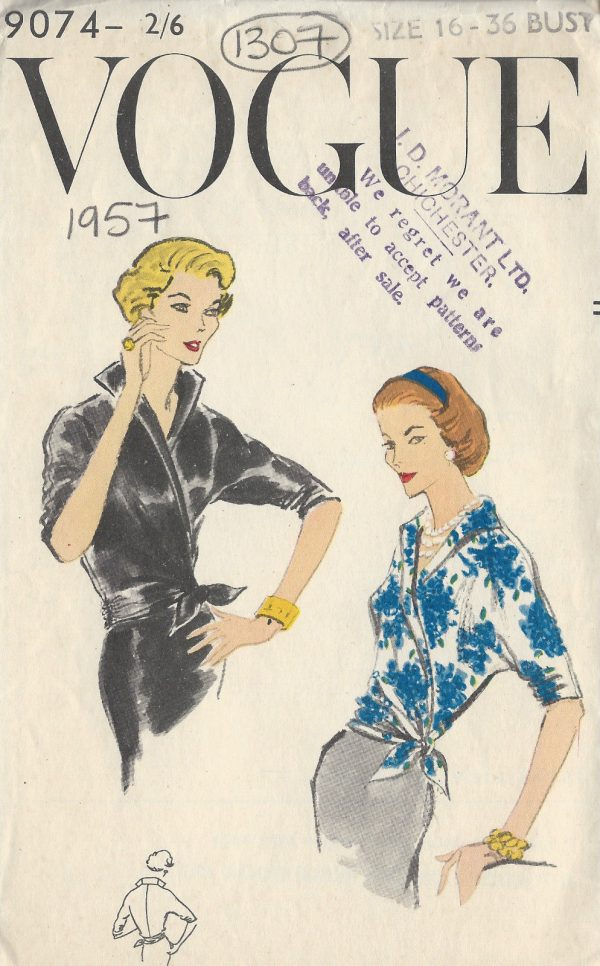 1957 Vintage VOGUE Sewing Pattern B36: BLOUSE (1307) By Vogue 9074 ...