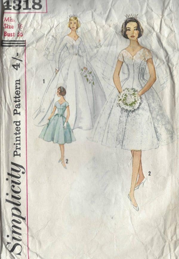 1959 Vintage Sewing Pattern B36 BRIDES, BRIDESMAID, EVENING DRESS ...