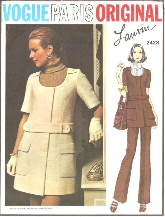 1970-Vintage-VOGUE-Sewing-Pattern-B325-JUMPER-DRESS-SKIRT-PANTS-1637-LANVIN-262422068615