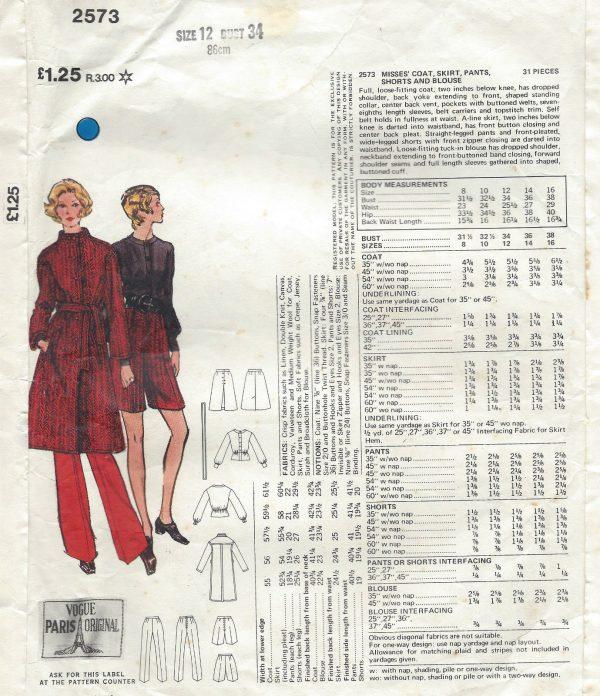 1971-Vintage-VOGUE-Sewing-Pattern-B34-COAT-SKIRT-PANTS-BLOUSE-1343-NINA-RICCI-251703246995-4