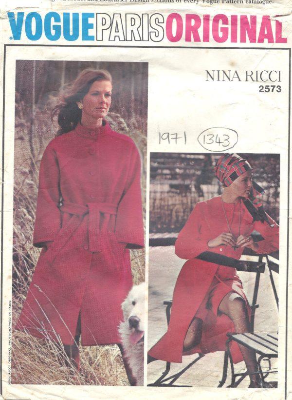1971-Vintage-VOGUE-Sewing-Pattern-B34-COAT-SKIRT-PANTS-BLOUSE-1343-NINA-RICCI-251703246995