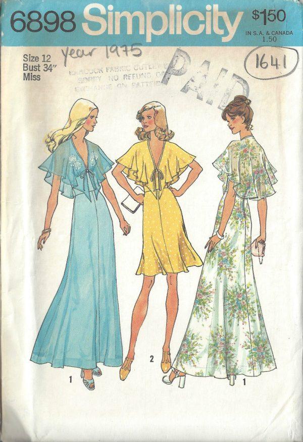 1975 Vintage Sewing Pattern B34 Halter Dress 1641 The