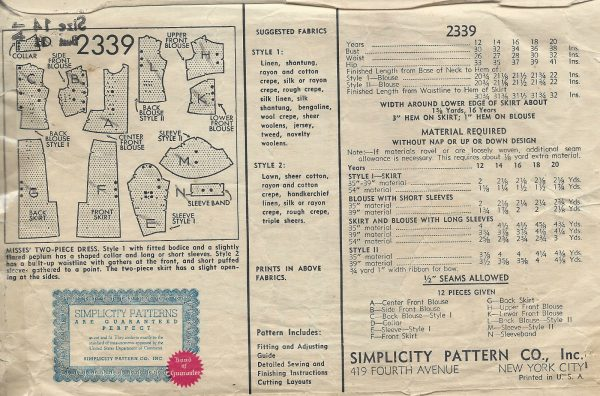 1930s-Vintage-Sewing-Pattern-B32-TWO-PIECE-DRESS-1443-252004941966-2