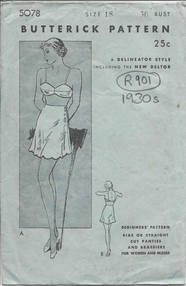 1930s-Vintage-Sewing-Pattern-B36-PANTIES-BRASSIERE-R901-251234947626