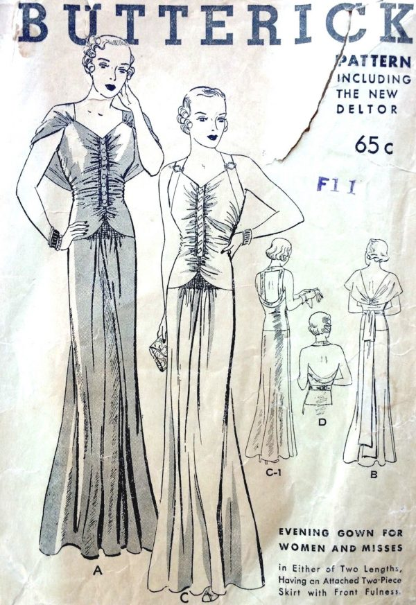 dc5007f266569 1930s Vintage Sewing Pattern B38 EVENING DRESS (1648) - The Vintage ...