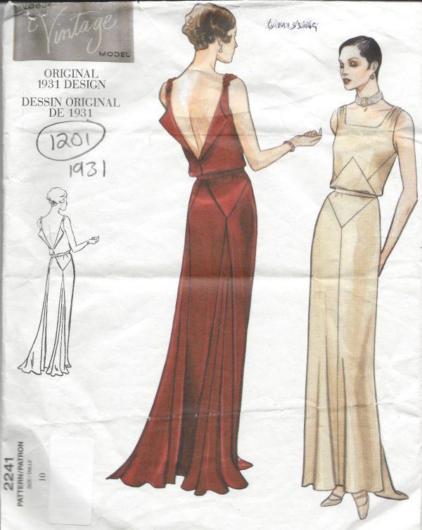 1931-Vintage-VOGUE-Sewing-Pattern-B32-12-DRESS-1201R-261449172576-4