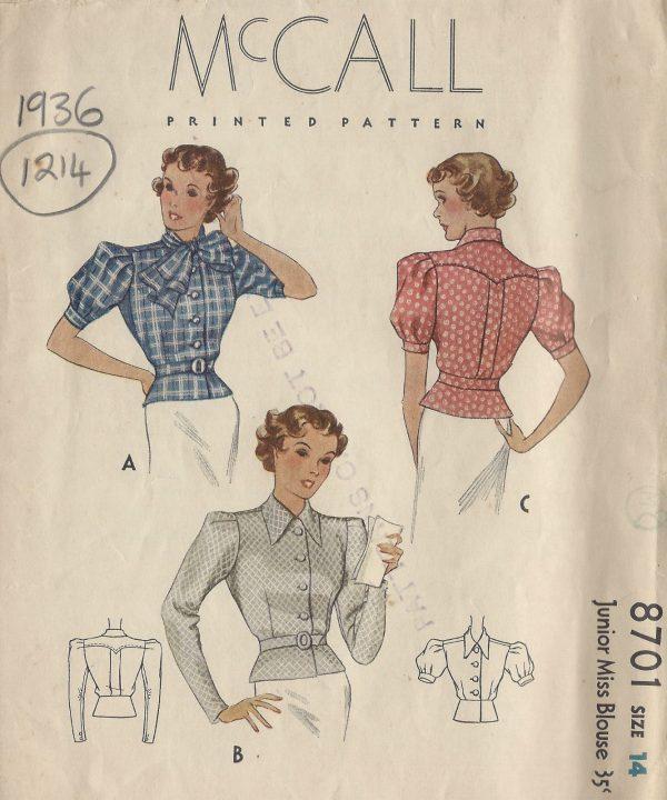 1936-Vintage-Sewing-Pattern-B32-BLOUSE-1214-251501780996