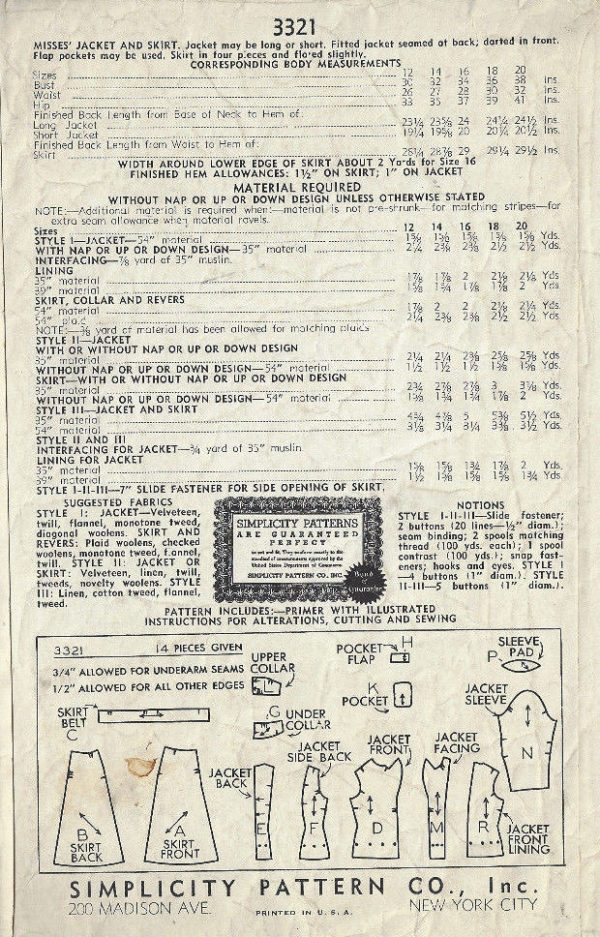 1940-WW11-Vintage-Sewing-Pattern-B30-SKIRT-JACKET-1732R-262576223086-2