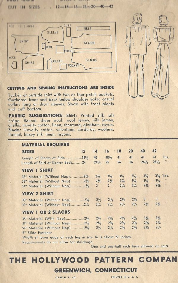 1940-WW2-Vintage-Sewing-Pattern-B34-SHIRT-PANTS-SLACKS-1491-252081938736-3