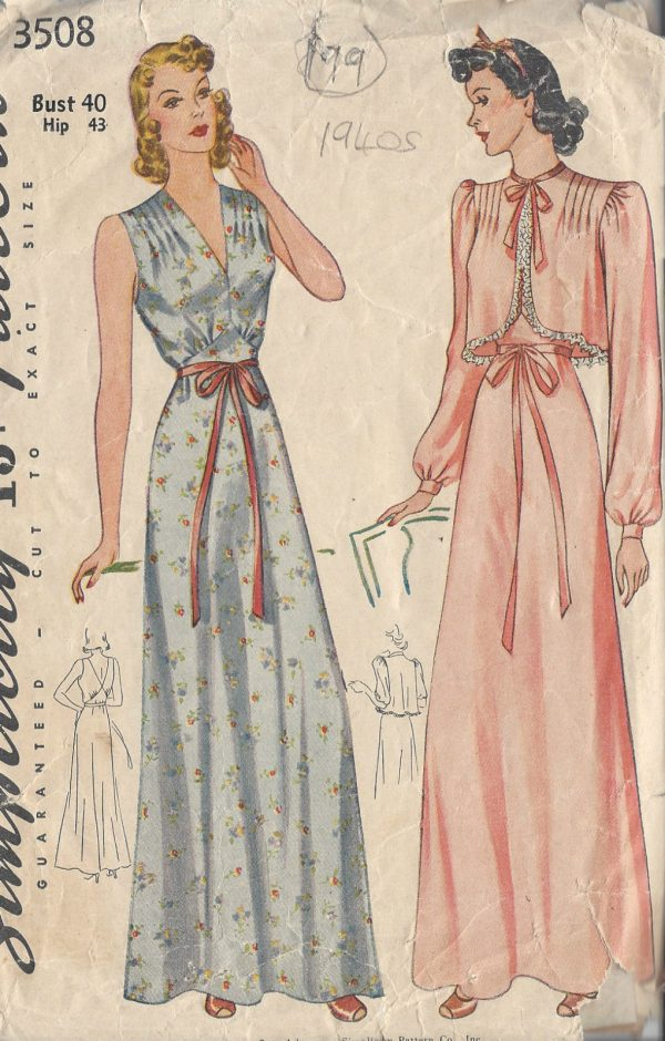 1940s-Vintage-Sewing-Pattern-B40-NIGHTDRESS-BED-JACKET-199-251146695076