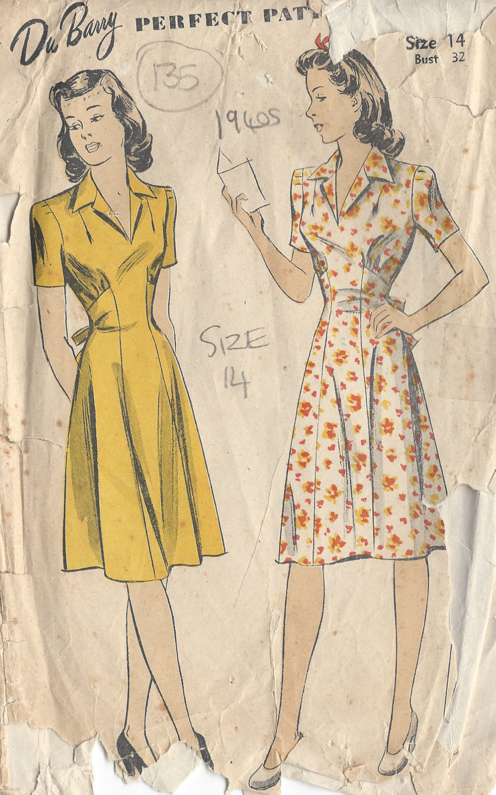1940s Vintage Sewing Pattern Dress B32 Quot 135 The