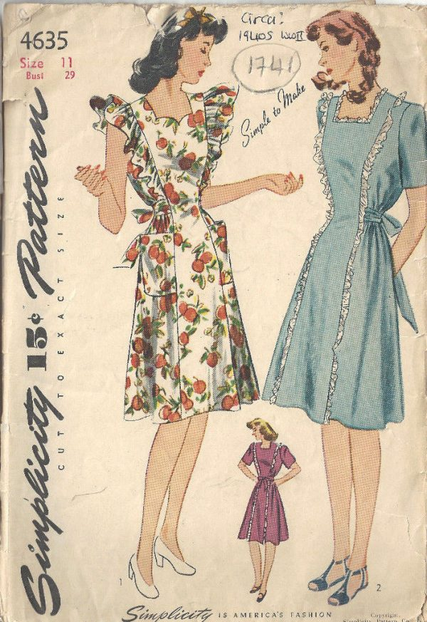 1941 Ww11 Vintage Sewing Pattern B29 Maternity Dress