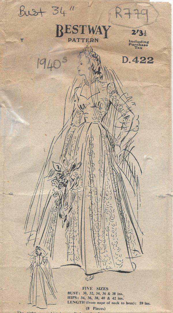 1942 Vintage Sewing Pattern B34 WEDDING DRESS (R779) - The Vintage ...