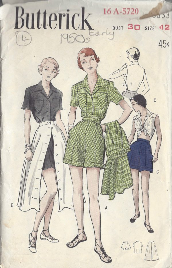 1950s-Vintage-Sewing-Pattern-B30-W25-SKIRT-BLOUSE-SHORTS-R707-251174289906