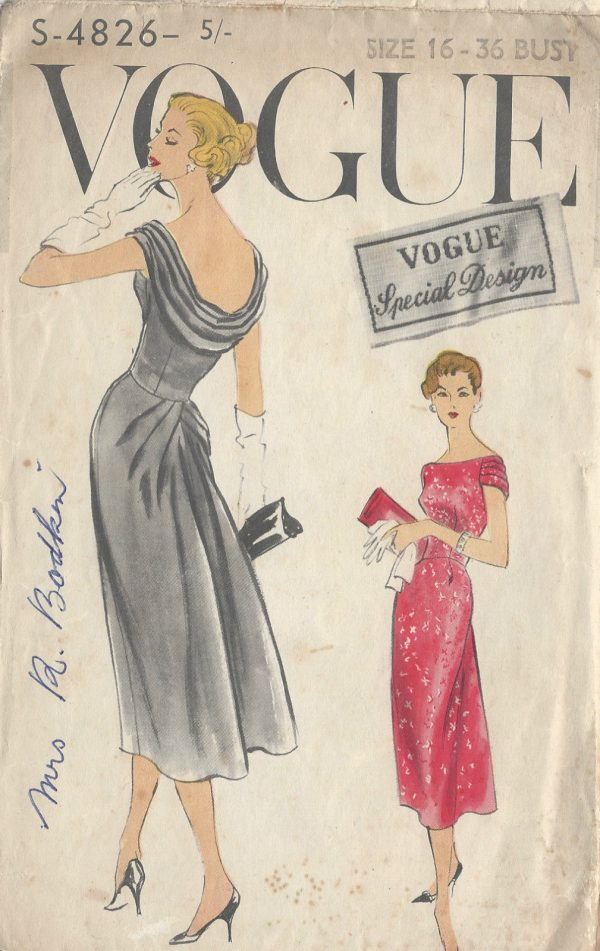 1950s Vintage Vogue Sewing Pattern B36 Dress R849 The