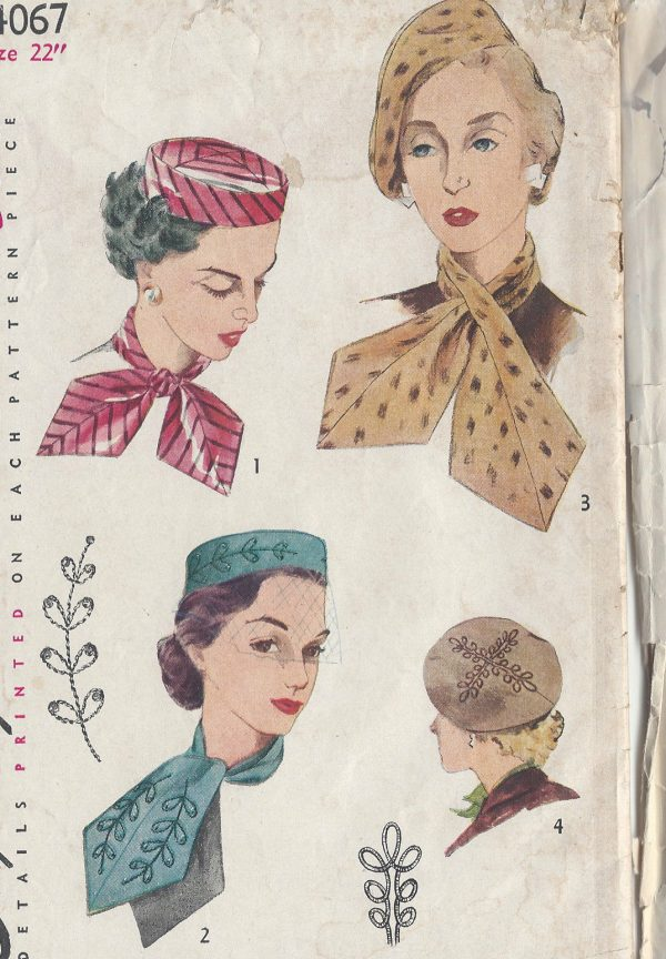 1952-Vintage-Sewing-Pattern-HAT-SCARF-TRANSFER-S22-R588-251144440006