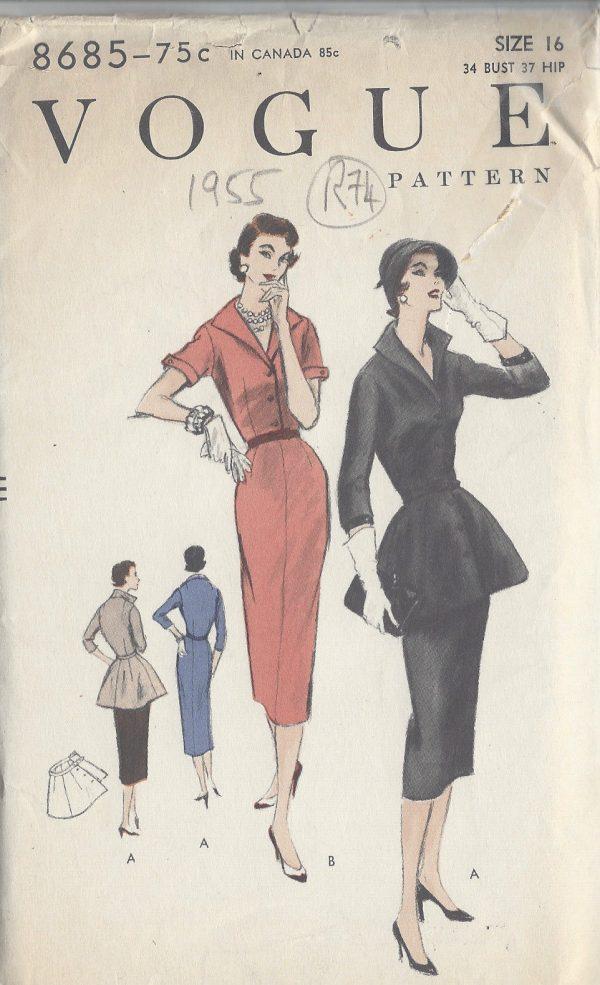 1955-VOGUE-Vintage-Sewing-Pattern-B34-DRESS-PEPLUM-R74-251173235936