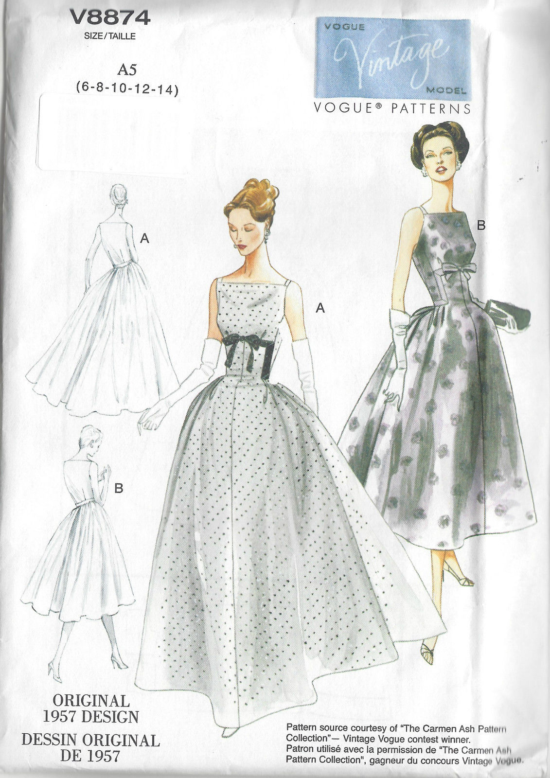 1957 Vintage Vogue Sewing Pattern B30 1 2 31 1 2 32 1 2 34