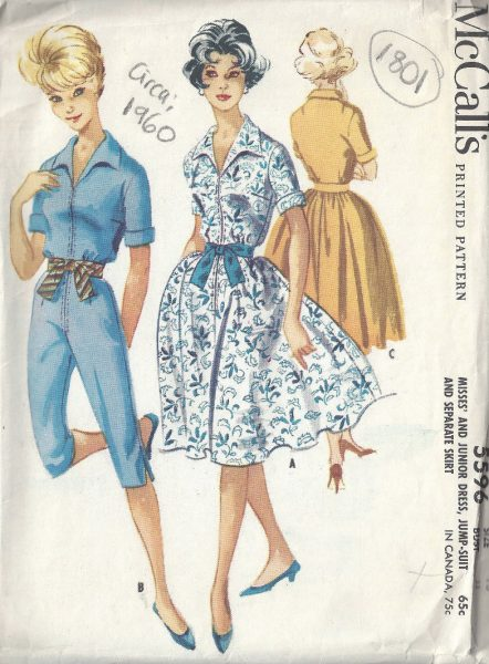 1960 Vintage Sewing Pattern B33 SKIRT, DRESS & JUMPSUIT (1801R ...