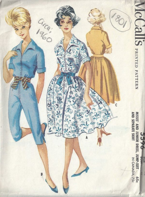 abaaf70dd3 1960-Vintage-Sewing-Pattern-B33-SKIRT-DRESS-JUMPSUIT-