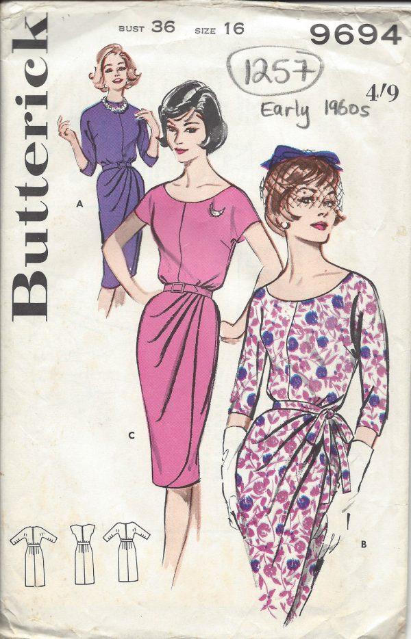 1960-Vintage-Sewing-Pattern-B36-DRESS-1257-251548559136