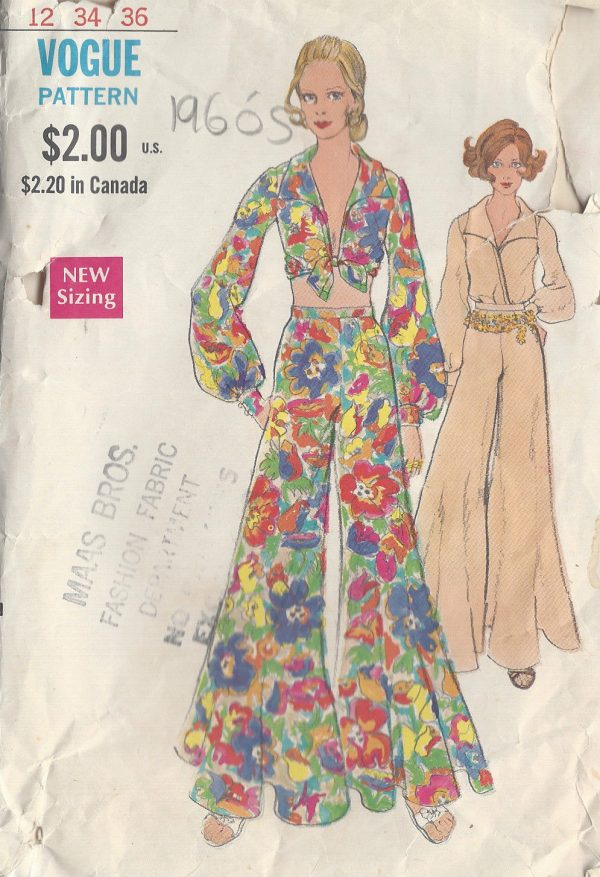 1960s-Vintage-VOGUE-Sewing-Pattern-B34-BLOUSE-PANTS-R822-261161367366