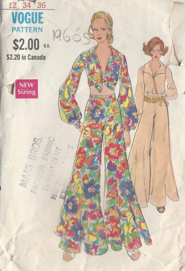 dc72b9f19fd47f 1960s Vintage VOGUE Sewing Pattern B34 BLOUSE & PANTS (R822) - The ...