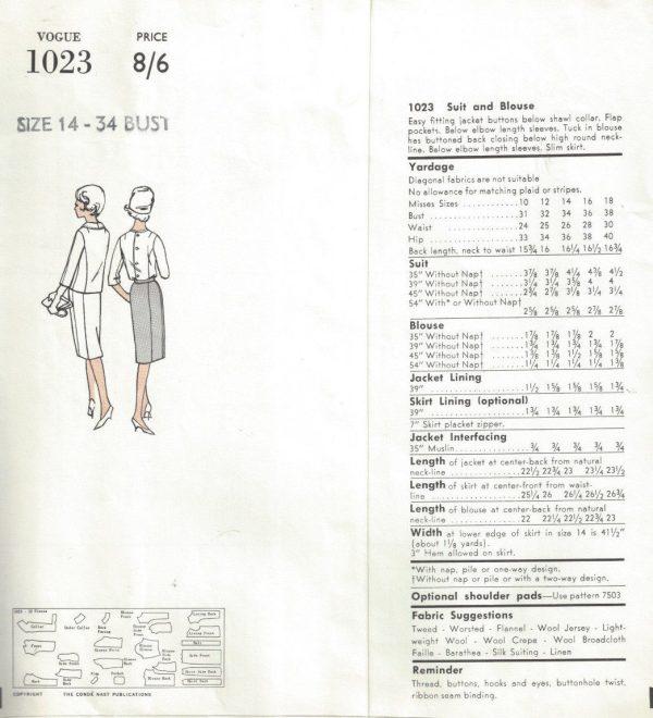 196Os Vintage VOGUE Sewing Pattern B34 SUIT SKIRT JACKET BLOUSE ...