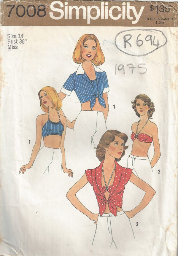1975-Vintage-Sewing-Pattern-B36-TOP-HALTER-TOP-BRA-R694-251181604876