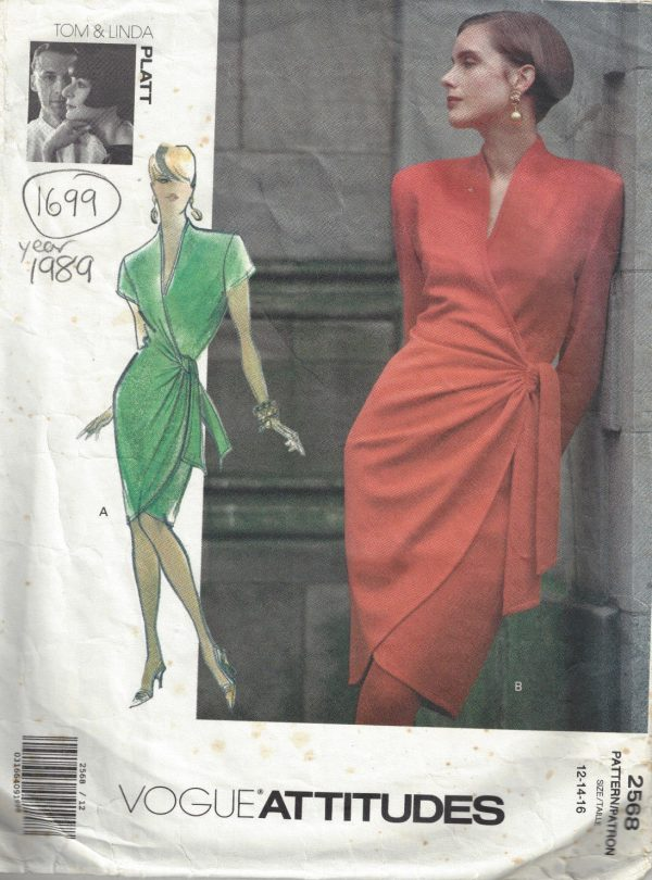 1989-Vintage-VOGUE-Sewing-Pattern-DRESS-B34-36-38-1699-By-Tom-Linda-Platt-262557532416