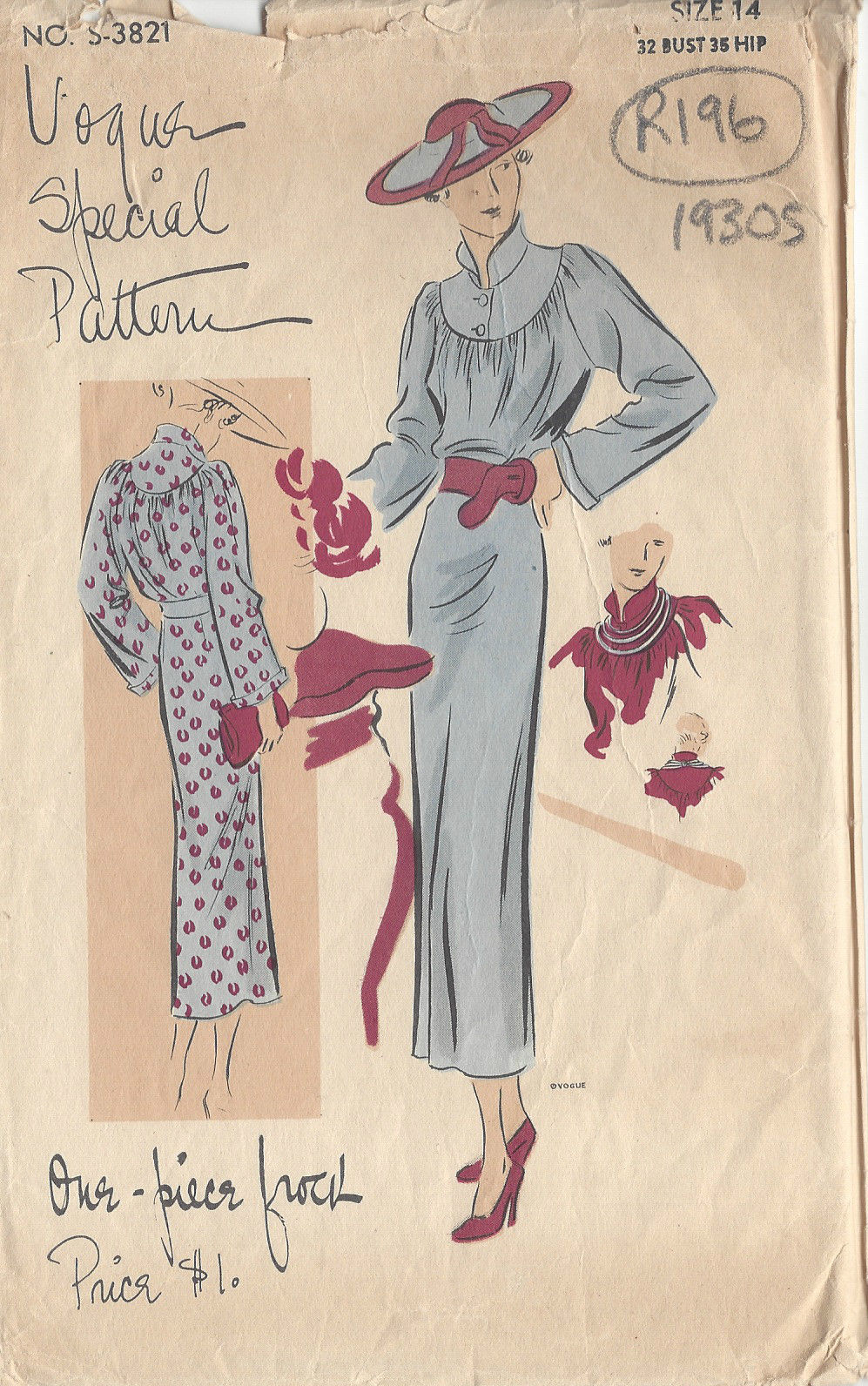 1930s vintage vogue sewing pattern one piece dress b32 r196 1930s vintage vogue sewing pattern one piece dress b32 r196 the vintage pattern shop jeuxipadfo Choice Image