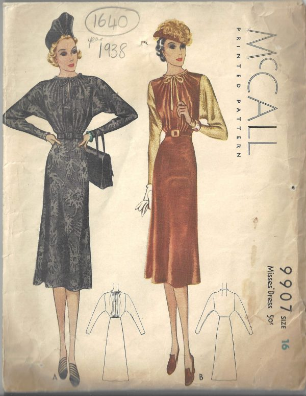 1938-Vintage-Sewing-Pattern-B34-DRESS-1640-252383665877