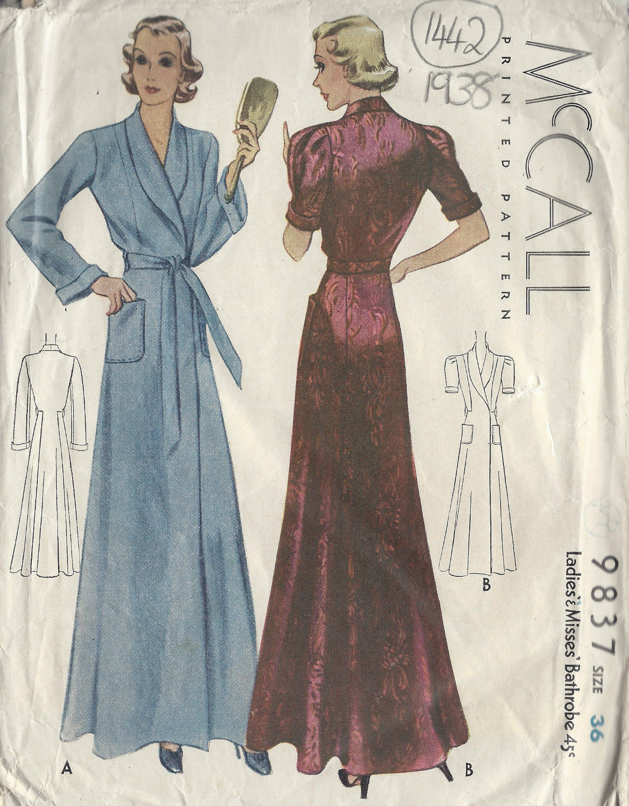 1938 Vintage Sewing Pattern B36\