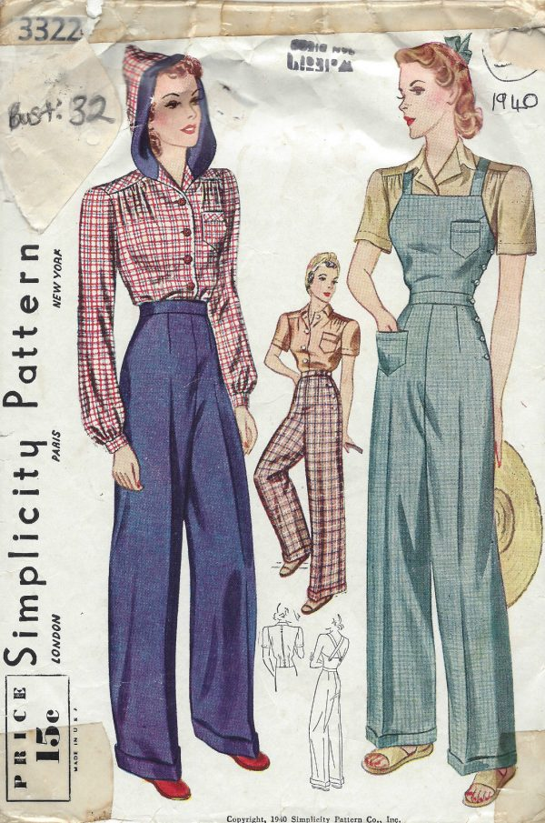 1940-Vintage-Sewing-Pattern-B32-W26-BLOUSE-TROUSERS-OVERALLS-1233-261645689707