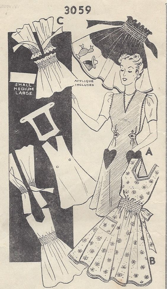 1940s-Vintage-Sewing-Pattern-APRON-ONE-SIZE-R509-251145413327
