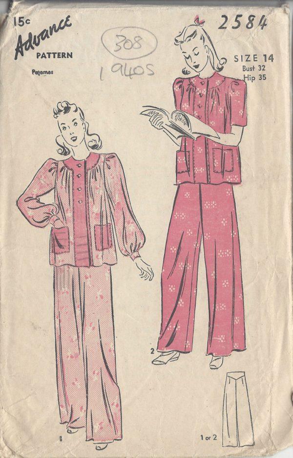 1940s-Vintage-Sewing-Pattern-B32-PYJAMAS-R713-251174322897