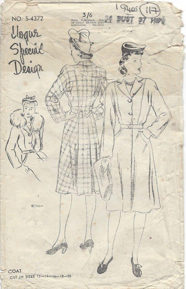 1940s Vintage VOGUE Sewing Pattern COAT B34\