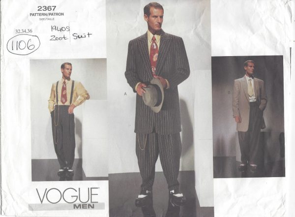 1940s-Vintage-VOGUE-Sewing-Pattern-Chest-32-34-36-MENS-ZOOT-SUIT-1106R-261902560187
