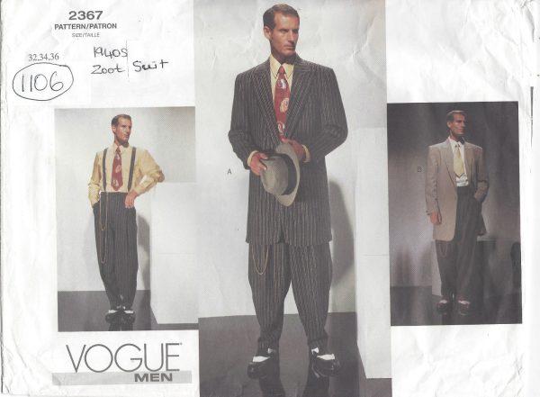 1940s Vintage VOGUE Sewing Pattern Chest 32-34-36 MEN\'S ZOOT SUIT ...