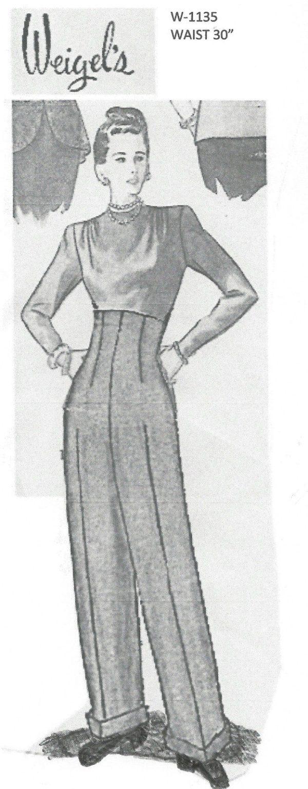1940s-WW2-Vintage-Sewing-Pattern-W30-WOMENS-PANTS-TROUSERS-W1135-30-252119834207