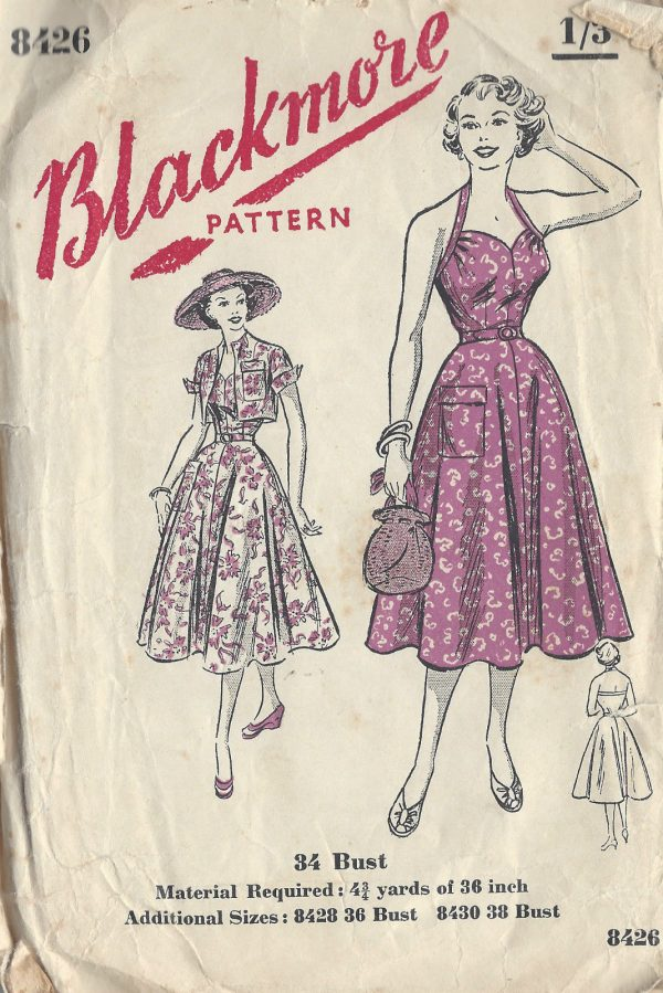 1950s Vintage Sewing Pattern B34 HALTERNECK DRESS & JACKET (R913 ...