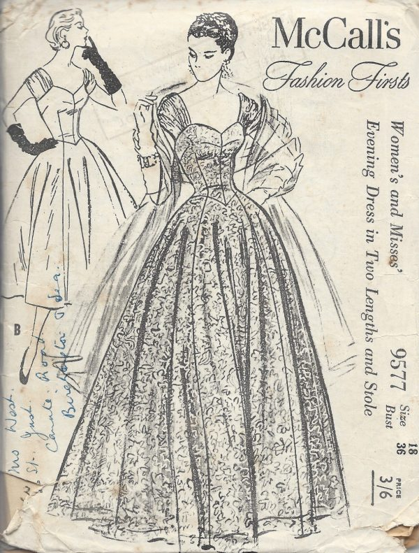 1950s Vintage Sewing Pattern B36 EVENING DRESS & STOLE (E1241) - The ...